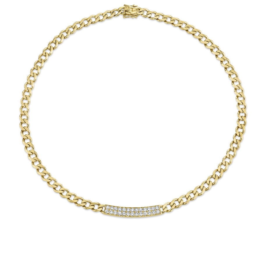 Yellow Gold & Diamond Bar Necklace