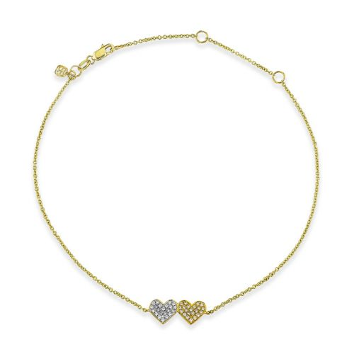 Gold & Diamond Medium Double Heart Anklet