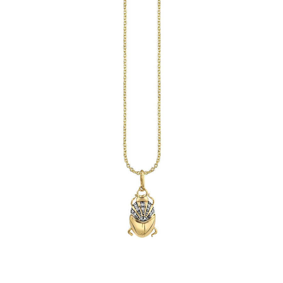Yellow Gold & Diamond Small Scarab Necklace