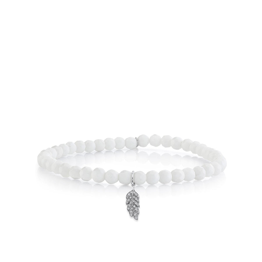 Tiny White Gold & Pavé Diamond Feather on White Agate