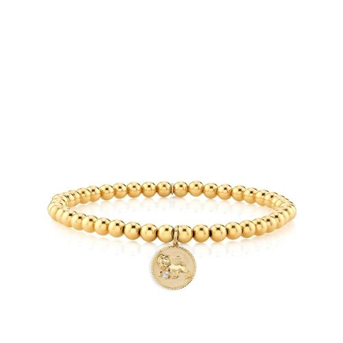 Yellow Gold & Diamond Leo Medallion on 14K Gold Beads