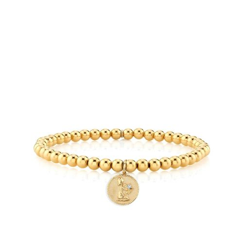 Yellow Gold & Diamond Virgo Zodiac Medallion on 14K Gold Beads