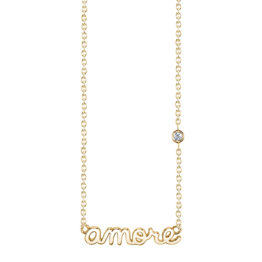 Yellow-Gold Plated Sterling Silver Amore Necklace with Bezel Set Diamond