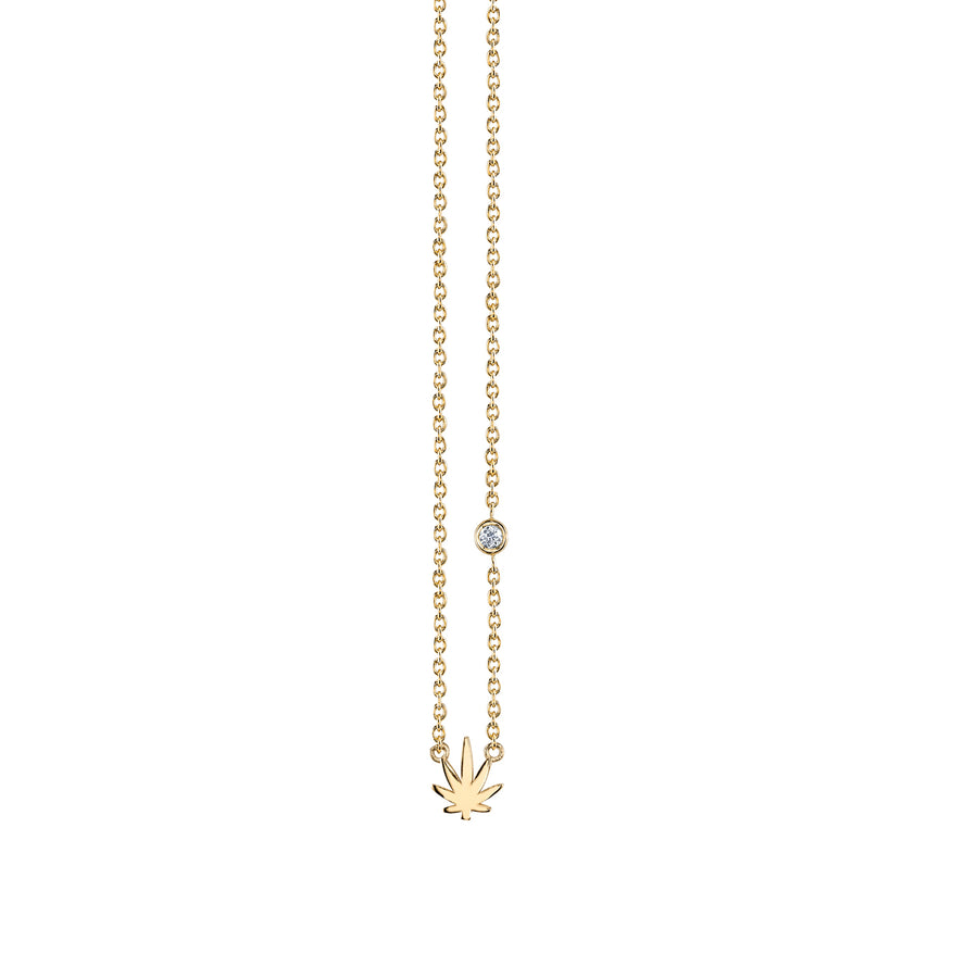 Yellow-Gold Plated Sterling Silver Pot Leaf Necklace with Bezel Set Diamond