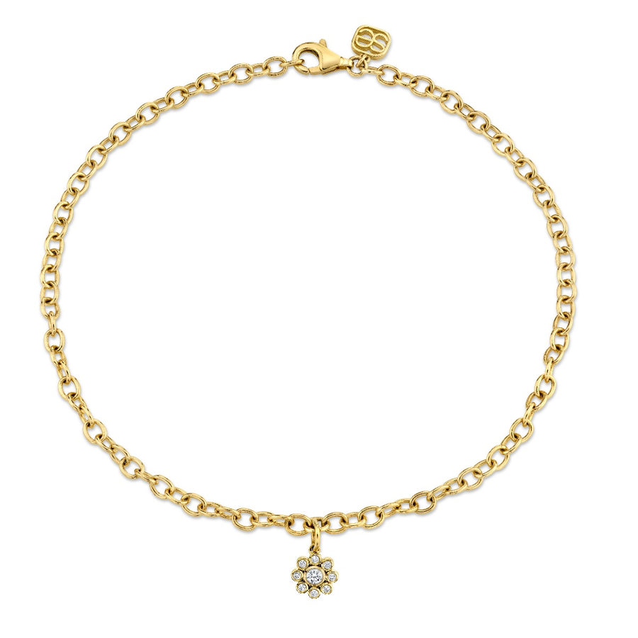 Yellow Gold & Bezel Diamond Flower Anklet