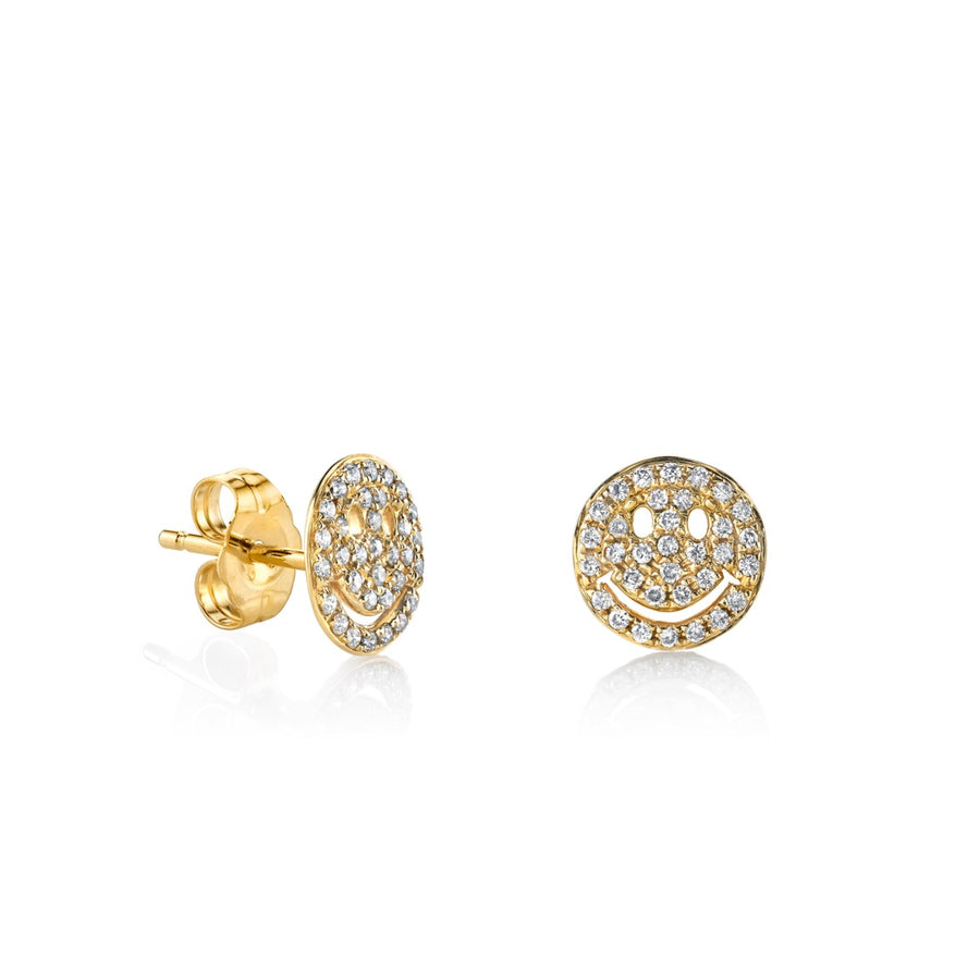 Small Gold & Pavé Diamond Happy Face Studs