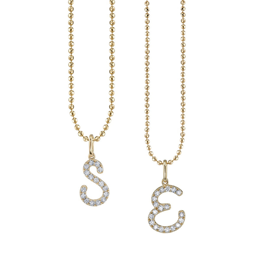 Yellow Gold & Diamond Large Initial Charm Necklace