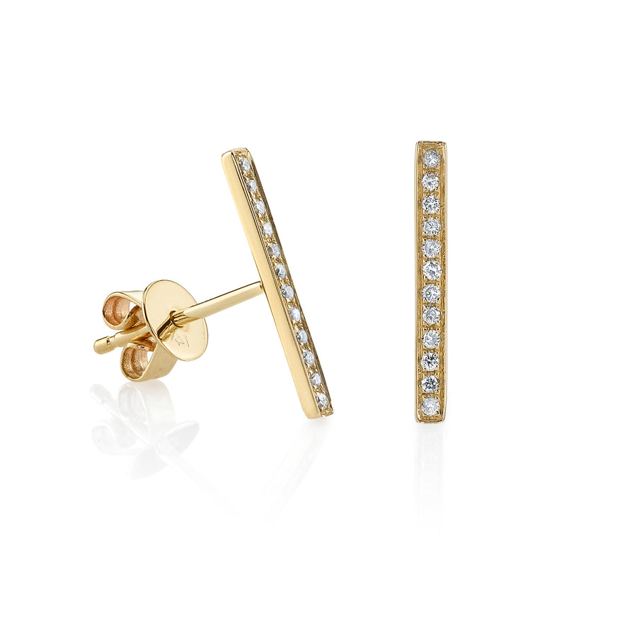 Yellow-Gold & Diamond Bar Earrings