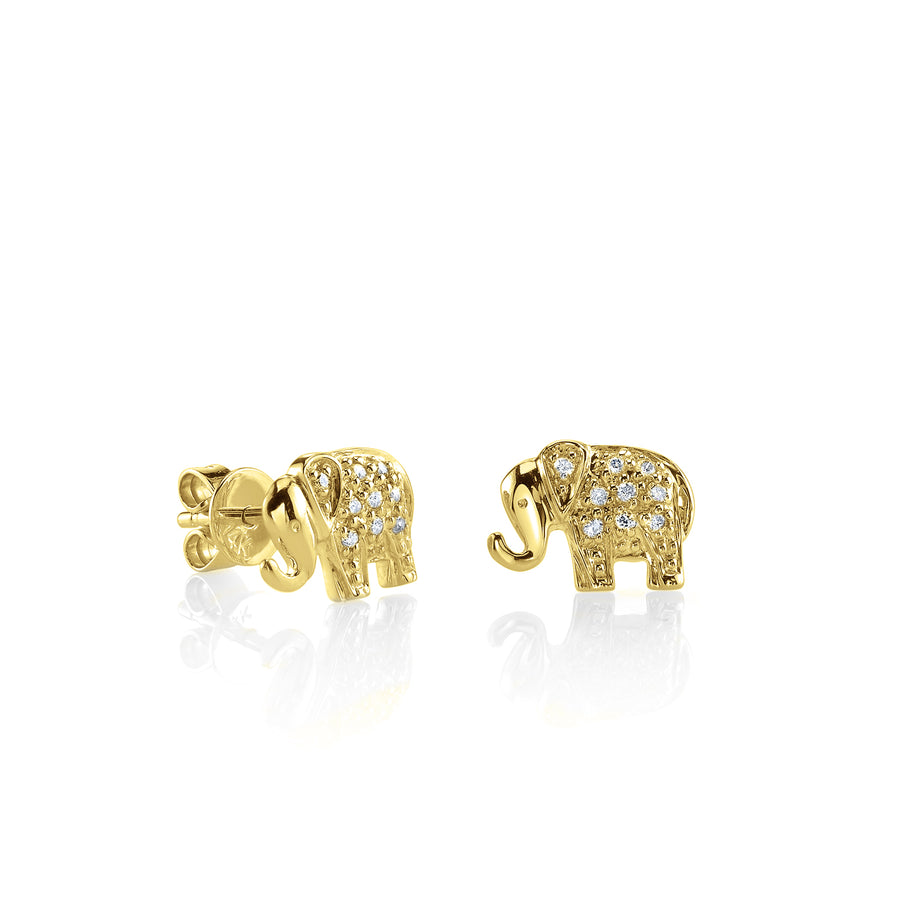 Mini Yellow Gold & Diamond Elephant Stud Earrings