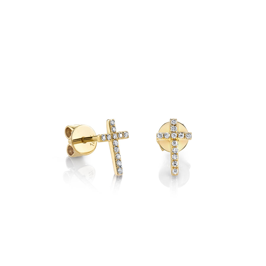 Small Gold & Diamond Cross Stud Earrings