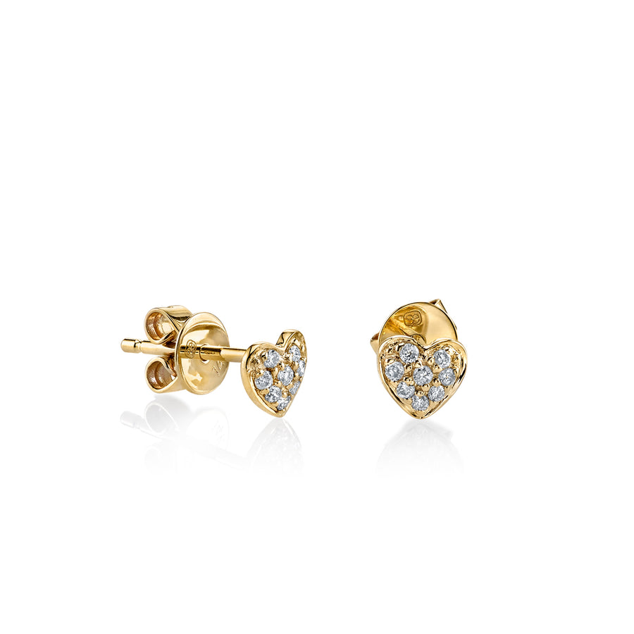 Gold & Diamond Tiny Heart Stud Earrings