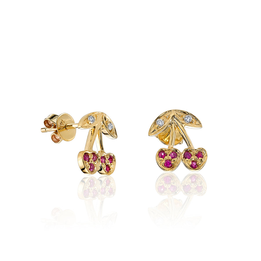 Yellow-Gold & Pavé Ruby Cherry Stud Earrings