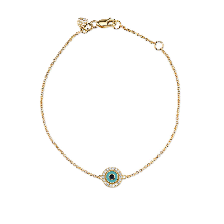 Gold & Diamond Small Enamel Evil Eye Bracelet
