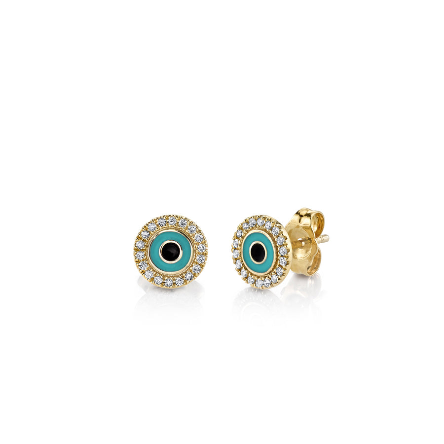 Small Yellow-Gold & Turquoise Enamel Evil Eye Stud Earrings with Pavé Diamond
