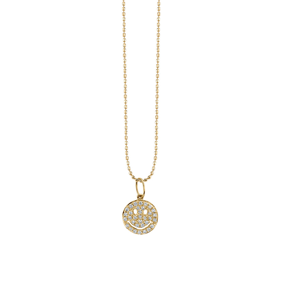 Small Gold & Pavé Diamond Happy Face Necklace