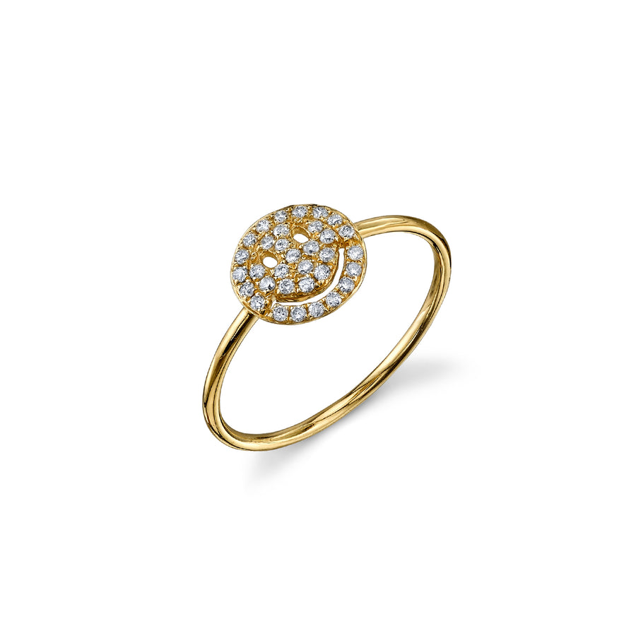 Small Gold & Pavé Diamond Happy Face Ring