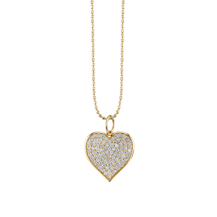 Large Yellow Gold & Pavé Diamond Heart Necklace