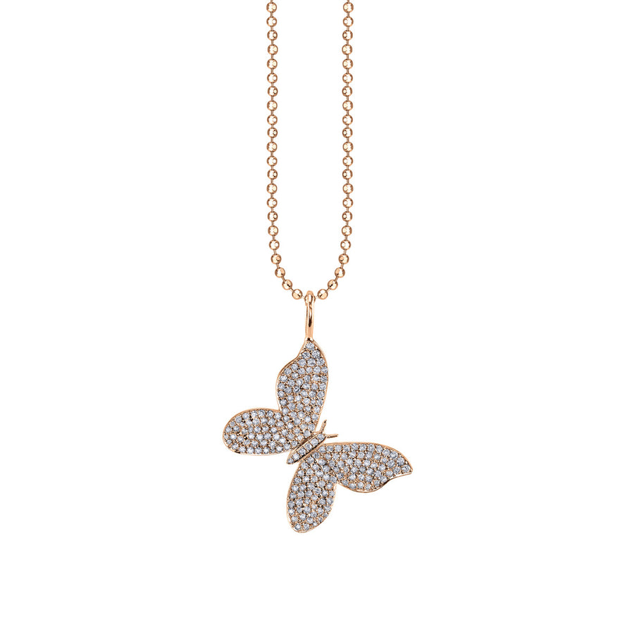 Large Yellow-Gold & Diamond Butterfly Charm Necklace