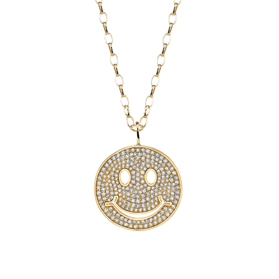 Large Yellow Gold & Pavé Diamond Happy Face Necklace