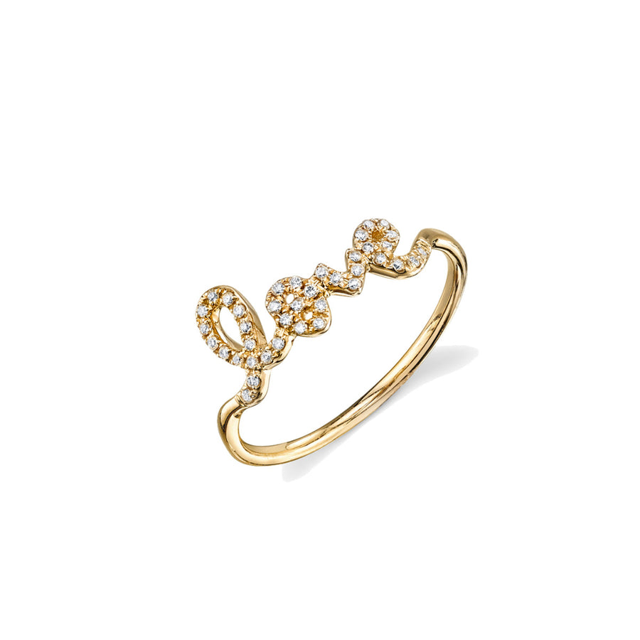 Gold & Pavé Diamond Love Ring
