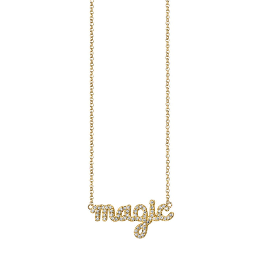 Gold & Diamond Magic Script Necklace