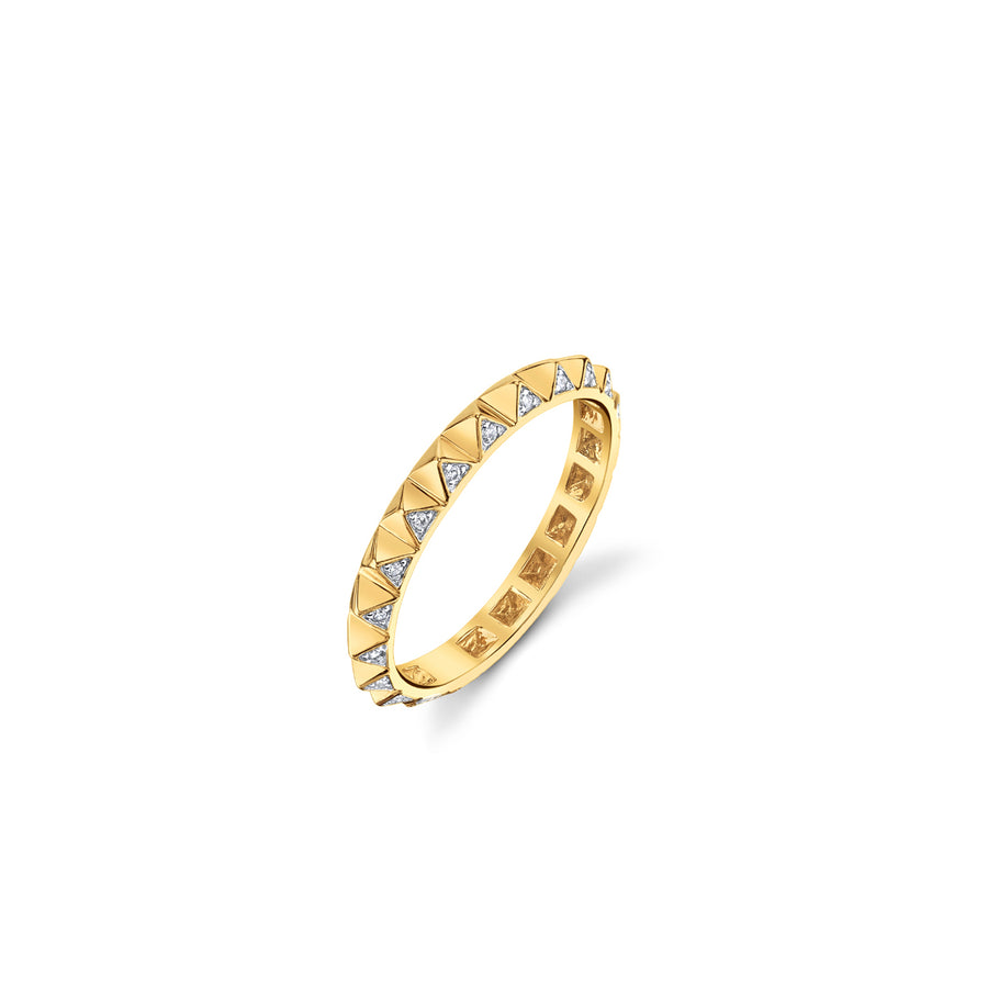 Mini Yellow-Gold & Diamond Pyramid Eternity Ring