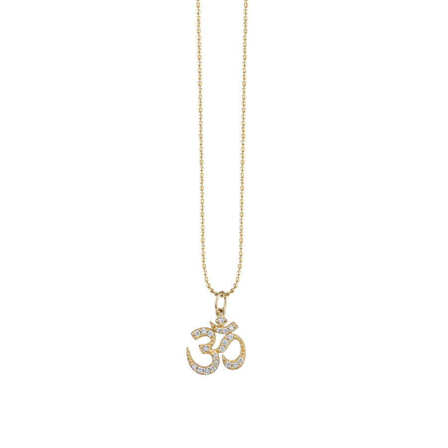 Yellow-Gold & Pavé Diamond Om Necklace