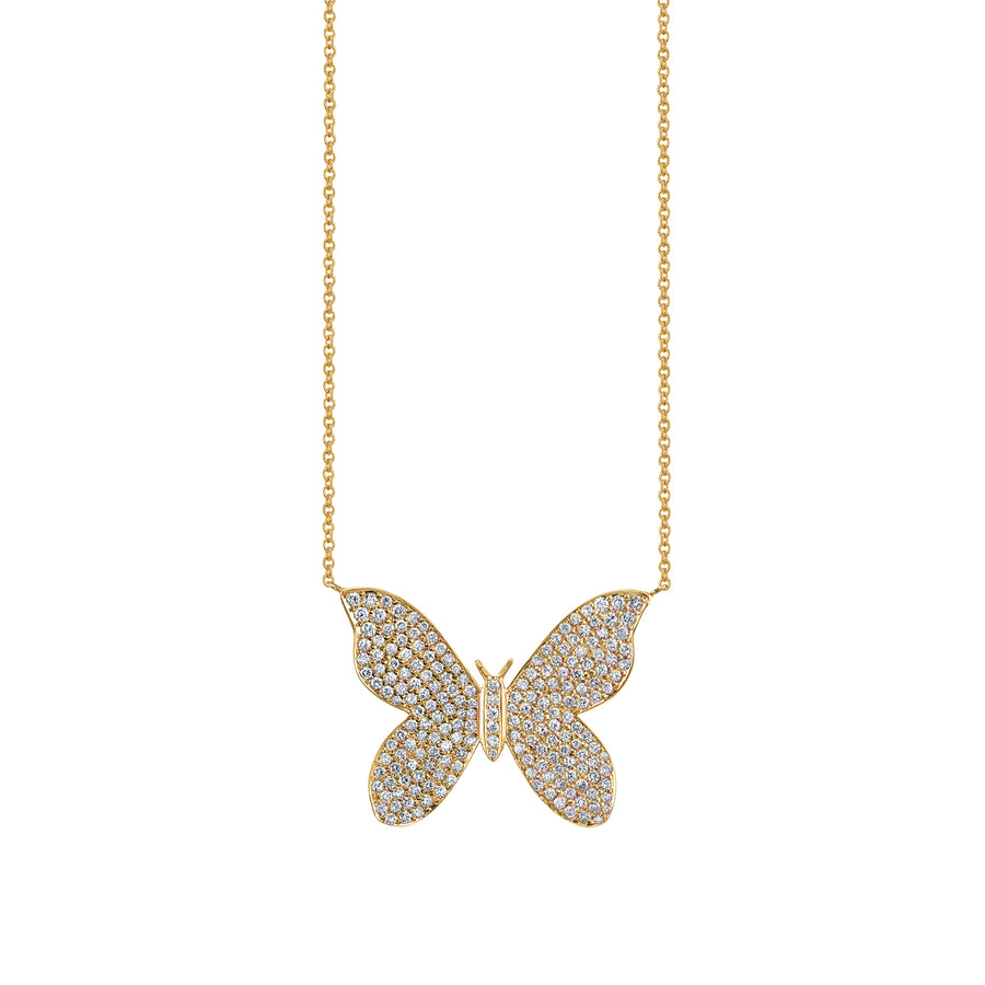 Large Gold & Diamond Butterfly Necklace