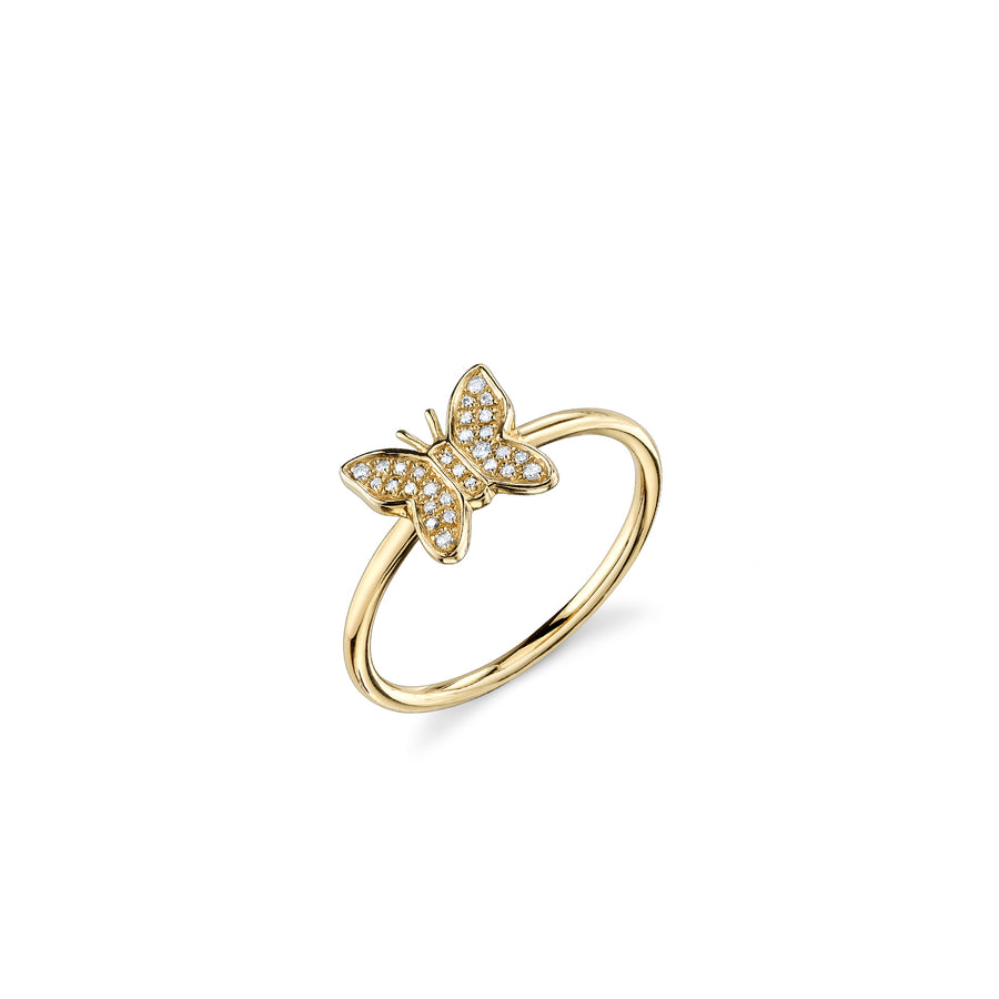 Gold & Pavé Diamond Butterfly Ring