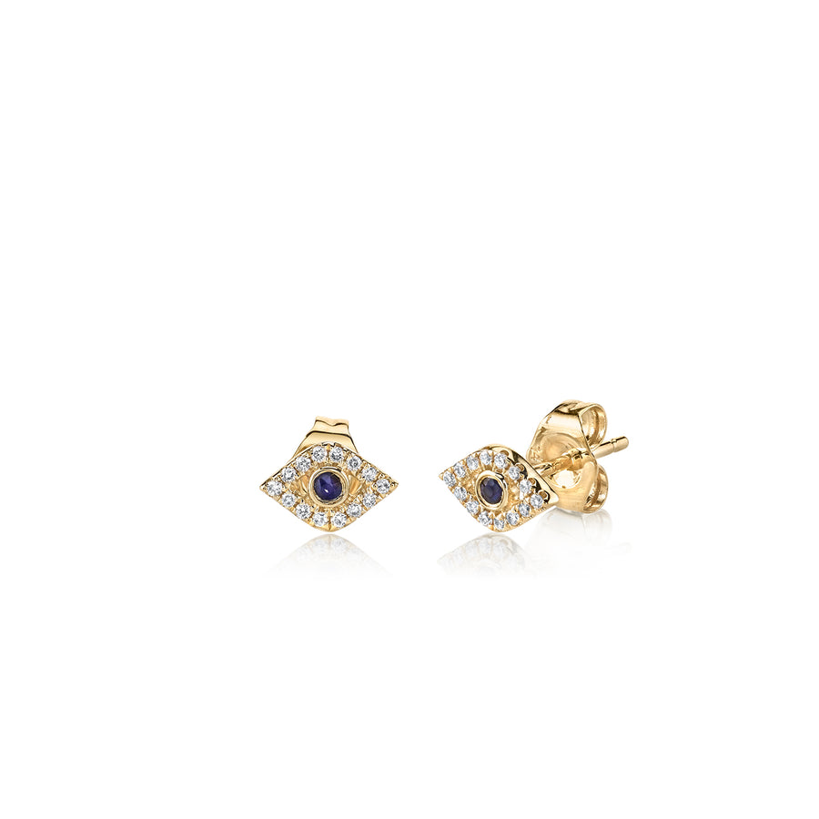 Gold & Diamond Mini Bezel Evil Eye Stud Earrings
