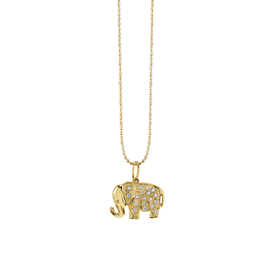 Small Yellow-Gold & Diamond Elephant Necklace