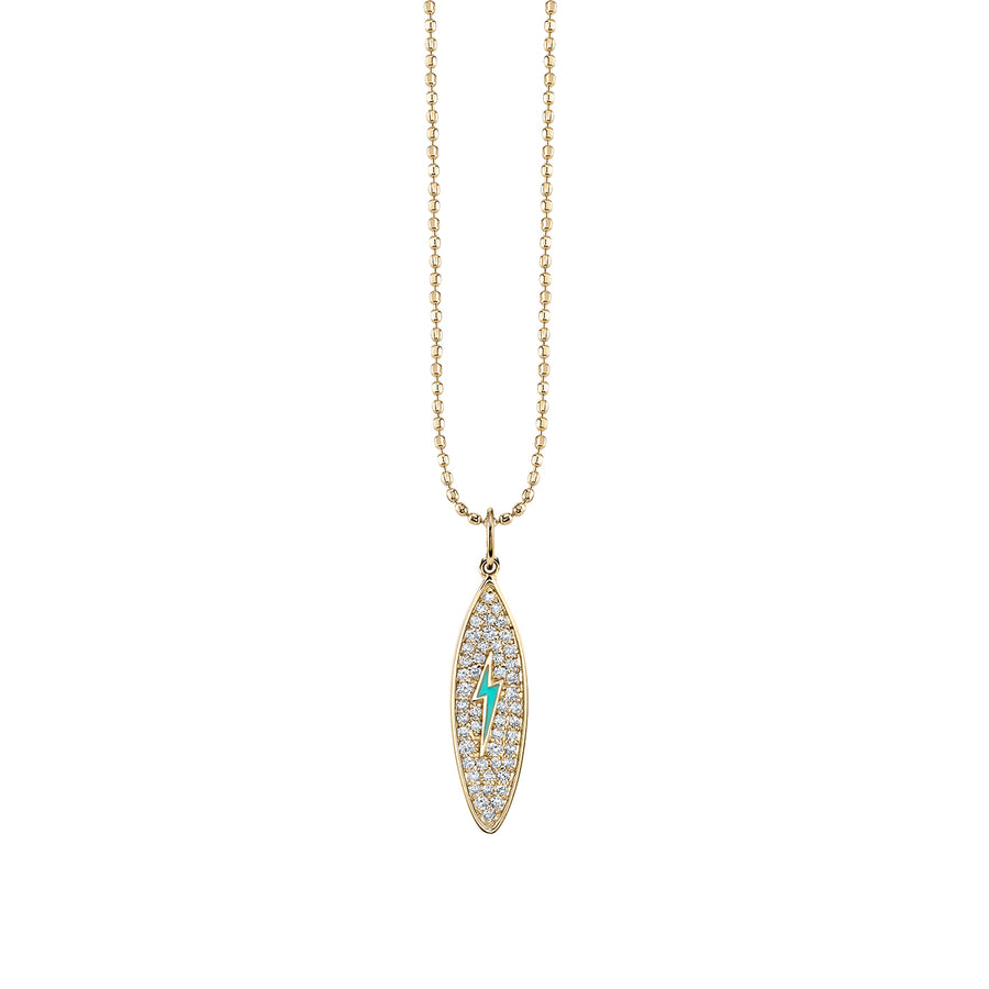 Yellow-Gold & Diamond Surfboard Necklace with Turquoise Enamel