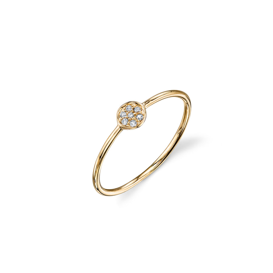 Gold & Pavé Diamond Tiny Disc Ring