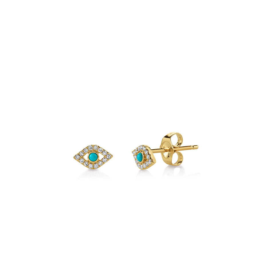 Gold & Diamond Mini Bezel Evil Eye Stud Earrings with Turquoise