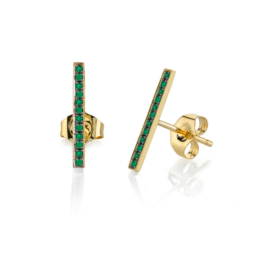 Pavé Emerald Bar Stud Earrings