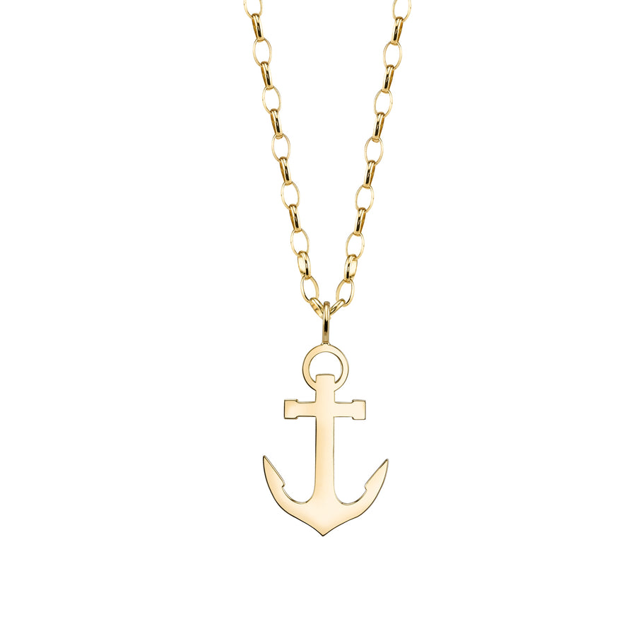 Yellow Gold Anchor Necklace