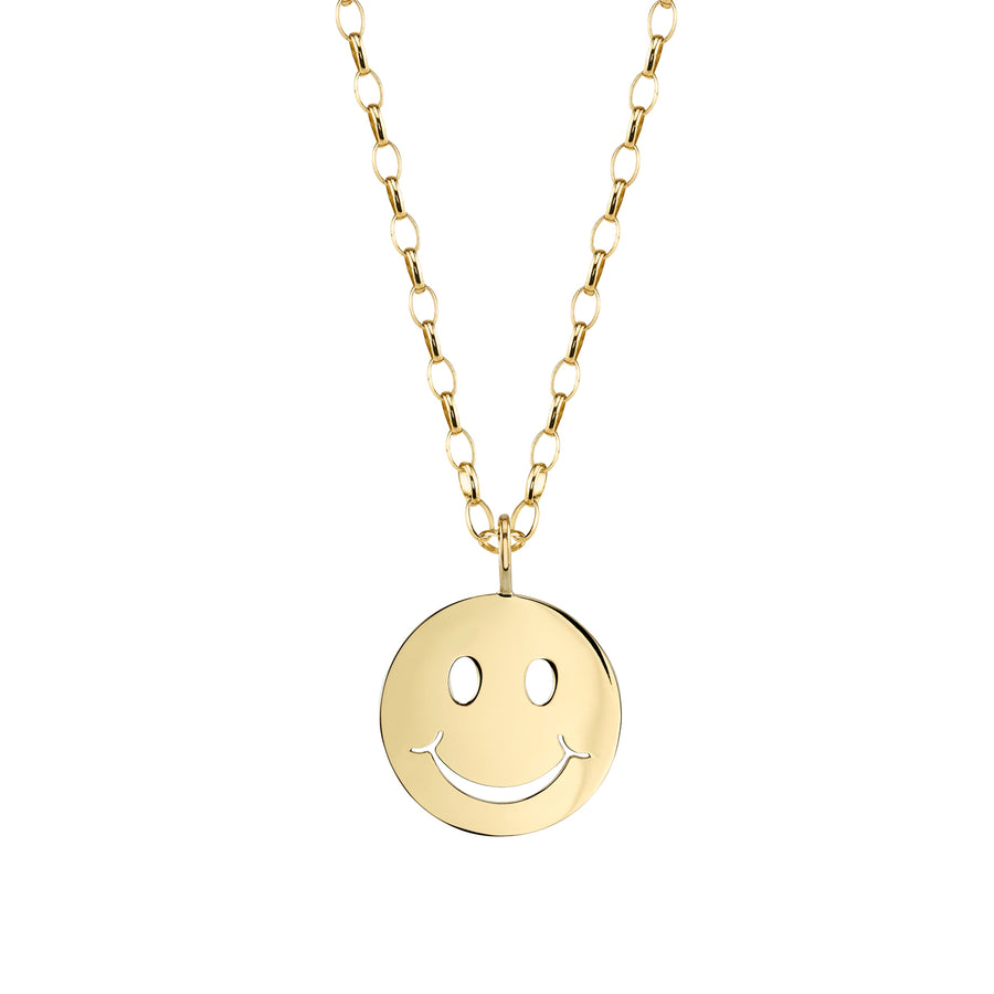 Yellow Gold Happy Face Necklace