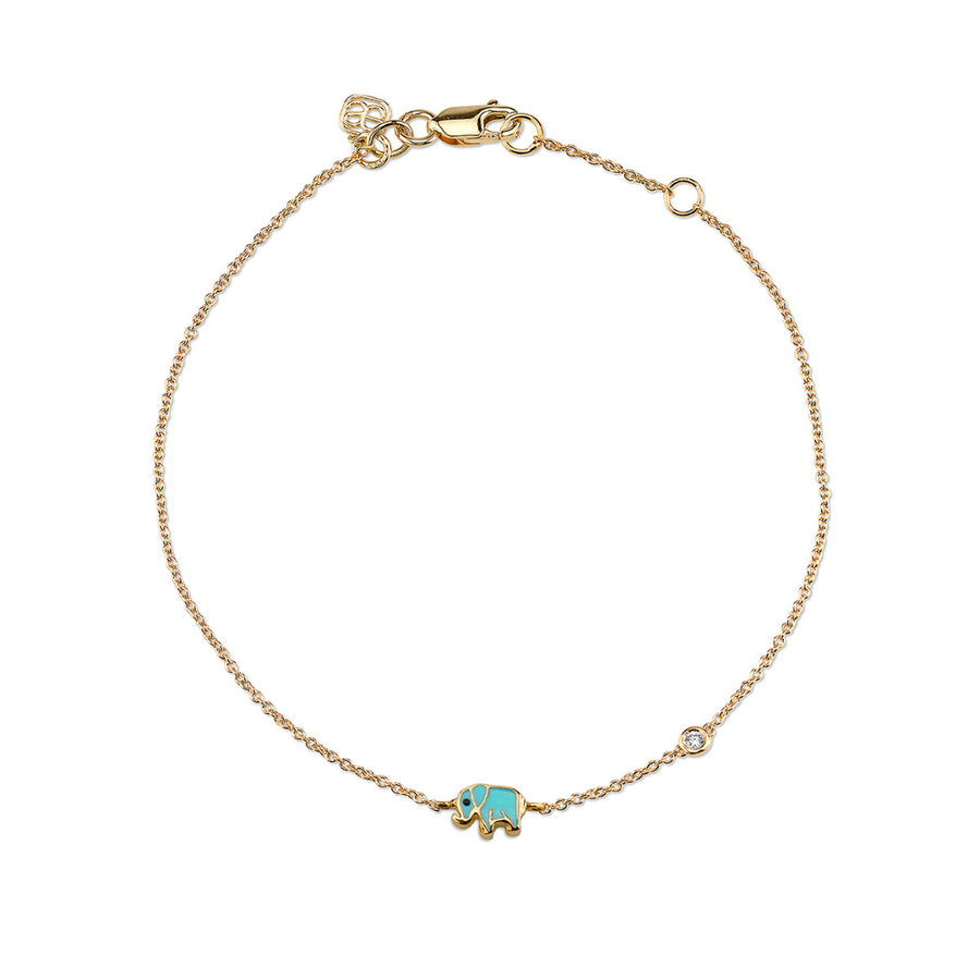 Gold & Turquoise Mini Enamel Elephant Bracelet with Bezel Set Diamond
