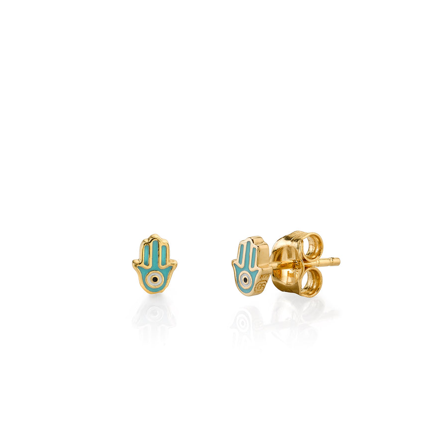 Gold & Turquoise Mini Enamel Hamsa Stud Earrings
