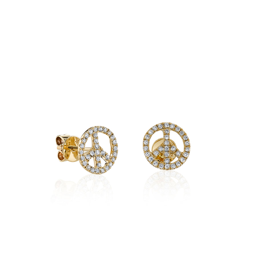 Mini Gold & Diamond Peace Sign Studs