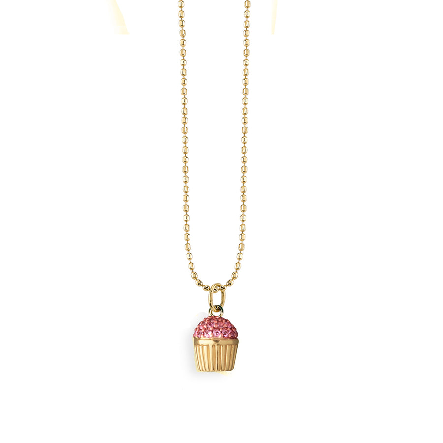 Large Yellow-Gold & Pink Sapphire Cupcake Necklace