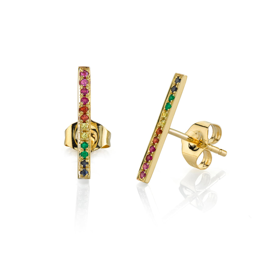 Yellow-Gold Rainbow Bar Stud Earrings