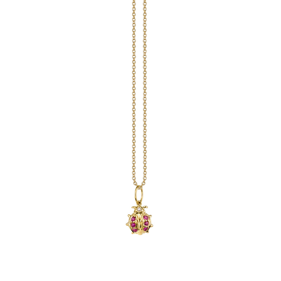 Small Yellow-Gold & Ruby Ladybug Necklace
