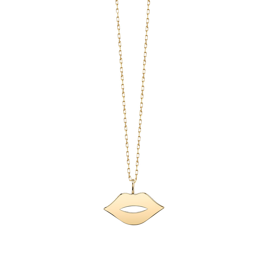Small Yellow-Gold Lips Necklace
