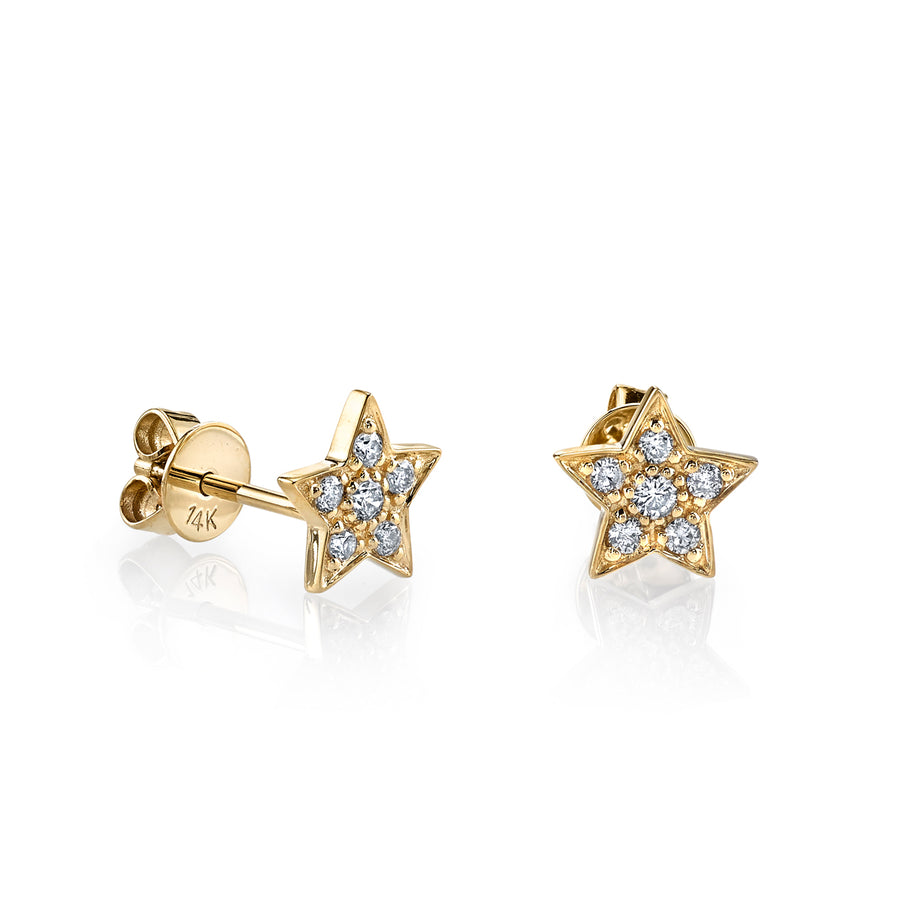 Gold & Pavé Diamond Star Studs