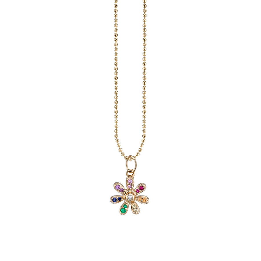 Yellow Gold Rainbow Flower Necklace