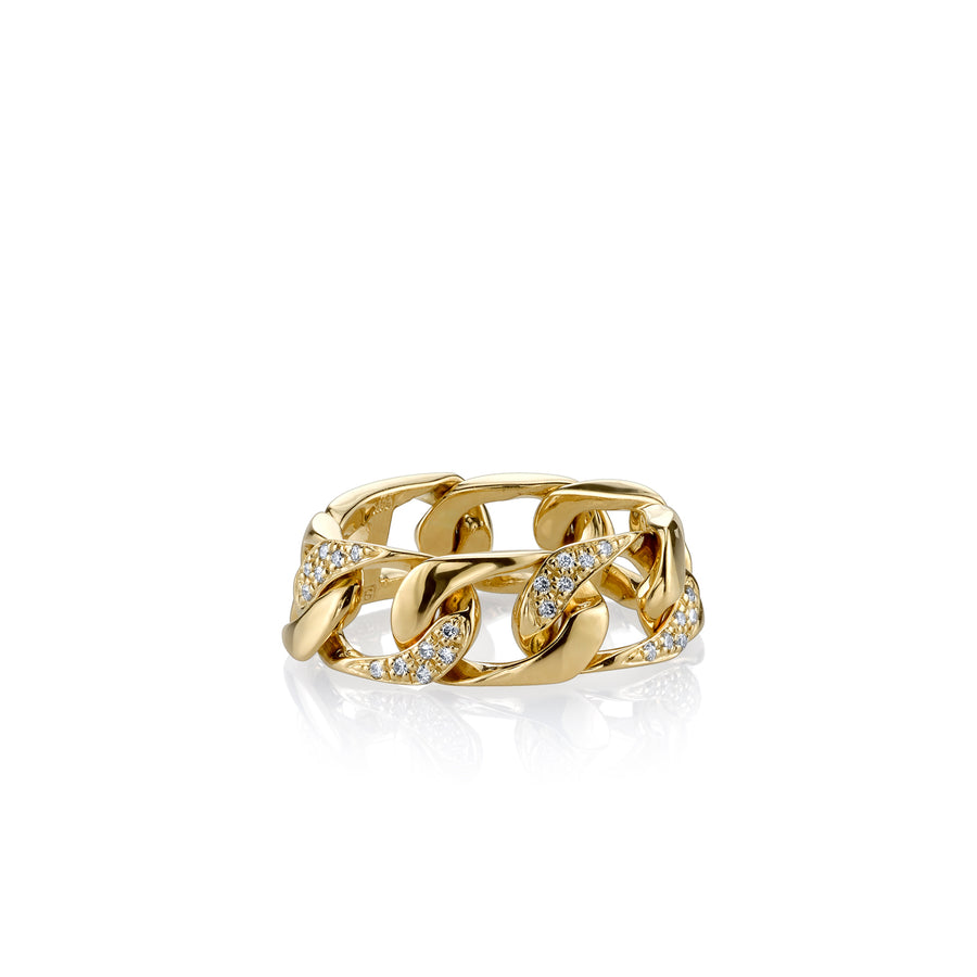 Yellow Gold & Diamond Pave Chain Link Ring