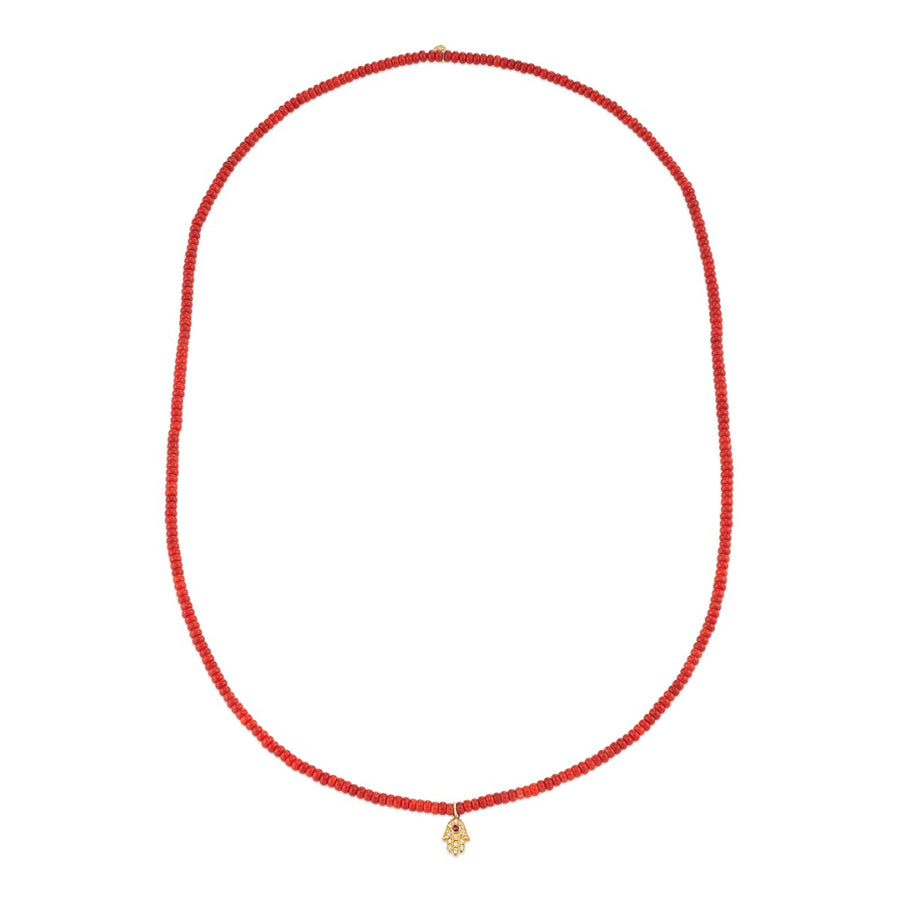 Mini Yellow Gold Hamsa Necklace on Red Bamboo Coral