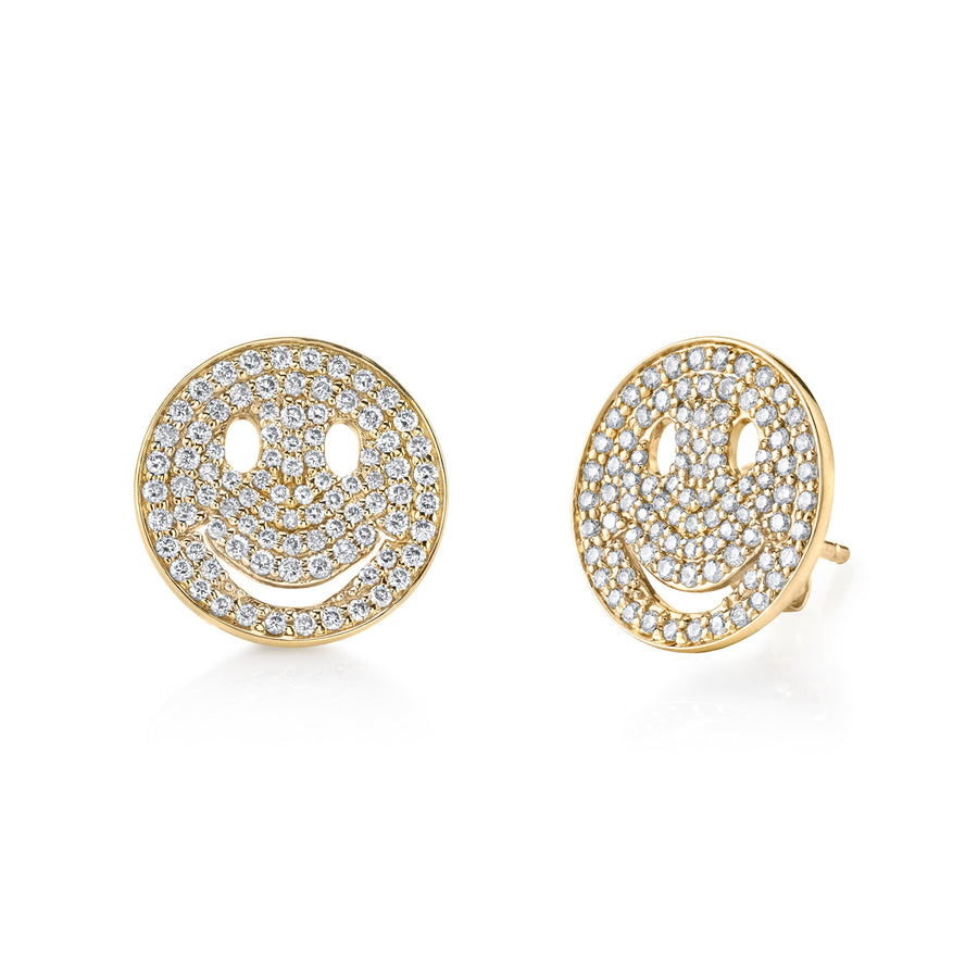 Large Gold & Pavé Diamond Happy Face Studs