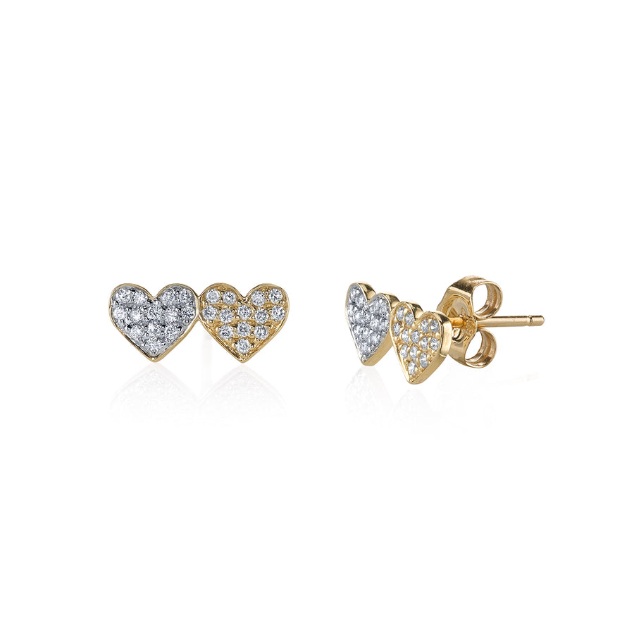 Yellow Gold & Diamond Double Heart Stud Earrings